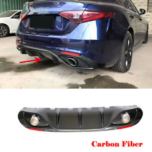 For Alfa Romeo Giulia 17 19 Rear Diffuser Lip Body Kit With Exhaust Tips Carbon