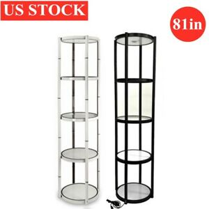 Us 81in Portable Round Twist Display Counter With Shelves top Light clear Panels