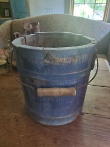 19thc Wooden Handled Bucket Dry Blue Paint Nr