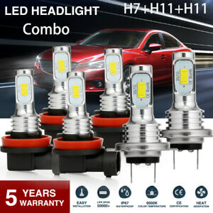 Super Bright Combo Led Headlight H7 h11 h11 High low Beam fog Light Bulbs 3 Sets