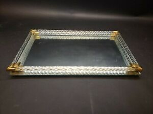 Vintage 60s Mcm Brass Dual Lucite Mirrored Bar Tray 16 X10 Vanity Makeup Mirror