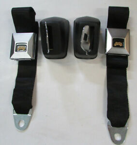 Black Chevelle Deluxe Fisher Coach Seat Belts 1964 72 Gm A Body Retractable Set