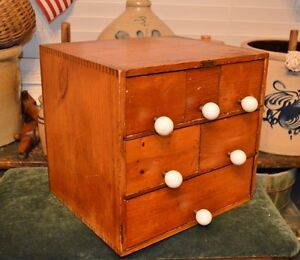 Antique Primitive 6 Drawer Wooden Spice Cabinet Candle Tea Box Bin Green Co
