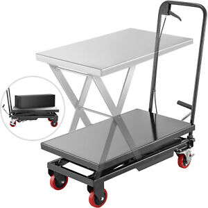 Hydraulic Scissor Cart Lift Table Cart 500lbs Manual Scissor Lift Table In Black