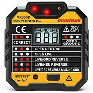 Mxuteuk Socket Tester gfci Receptacle Tester electric Multi function With Fault