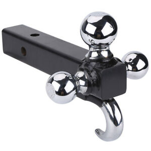 Triple 3 Ball Trailer Hitch With Hook Receiver Mount 1 7 8 2 2 5 16 Towing