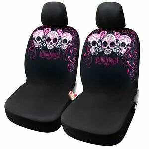 Lady Skulls 2pcs Pink Front Seat Covers For Women Girl Car Interior Seat Protect