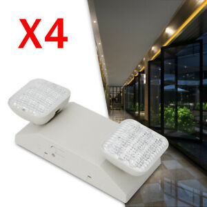 Emergency Exit Light Led Lamp 4pack Lighting Fixture Twin Square Heads Us Stock