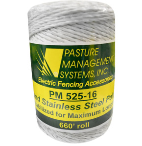 Electric Fencing Polywire 660 Feet Roll 6 Strand White Livestock Poly Wire