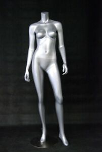 Fiberglass Glossy Silver Adult Female Headless Mannequin With Base