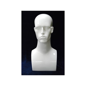 Adult Male Plastic Glossy White Mannequin Head With Facial Features