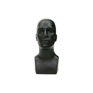 Plastic Tabletop Black Male Adult Mens Mannequin Head Display