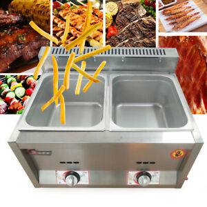 Commercial 2 Pan Food Warmer Steam Buffet Countertop Gas Fryer Steam Table 6lx2