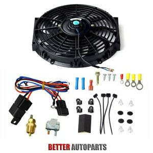 12 Inch Universal Electric Radiator Cooling Fan Thermostat Switch Kit Black