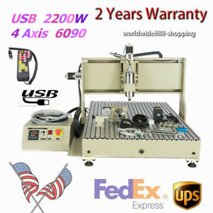 4 Axis 6090 Cnc Router Motor Engraver Wood Drilling Cutting Machine Usb 2200w