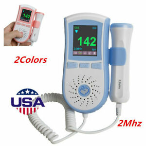 Lcd Pocket Fetal Doppler Prenatal Heart Baby Monitor 3mhz Dual Interface Probe