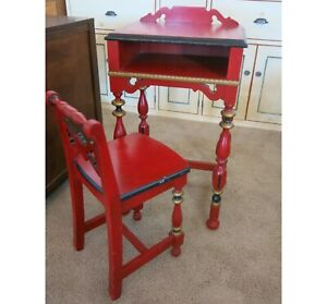 Antique Painted Red Child S Chair And Desk