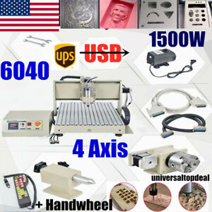 Usb 4axis Cnc 6040t Router Engraver 1500w Metal Wood Drilling milling Machine rc