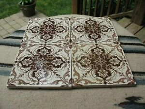 4 Antique Aesthetic Brown Transferware Ceramic Tile England 1880 S