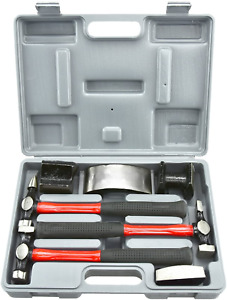 Neiko 20709a Heavy Duty Auto Body Hammer And Dolly Set 7 Piece Repair Kit For