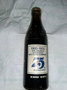 Vintage 1900-1975 Coca Cola 75th Anniversary Bottle The Atlanta Bottling Co.
