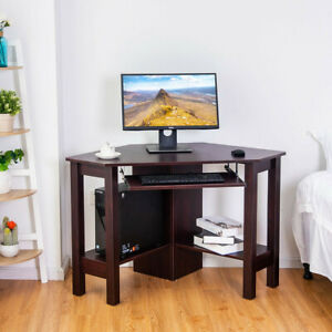 Wooden Study Computer Corner Office Furniture Desk W Drawer Fit In Small Space