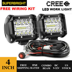 2x 4inch 200w Cree Led Work Light Bar Combo Beam Spot Light Flood 3 Wiring