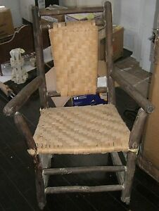 Antique Porch Rocking Chair Hickory Rocker Shaker Style Caned Primitive