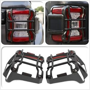 Led Tail Light Lamp Guard Covers Protector For 18 Jeep Wrangler Jl Carbon Fiber