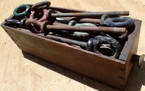 Large Lot Of Welded Eyebolt Lift Rings W Threaded Tip In Wood Cheese Drawer Box