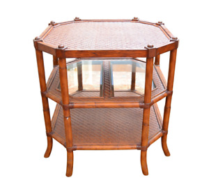 Asian Chippendale Style 3 Tier Bamboo Rattan Wicker Glass Side Occasional Table