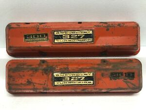 1960 S Vintage Oem Chevy 327 Turbo Fire 300 Horsepower Valve Covers Used Orange