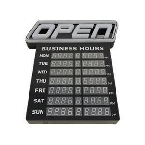 Led Open Sign With Business Hours Stand Out With 1000 Color Combos