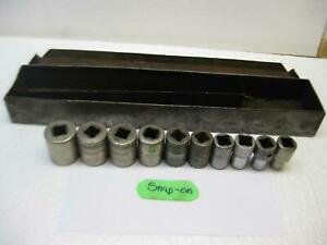 Vintage Snap On 10 Piece 1 2 Drive Socket Set With Metal Boxg Tray