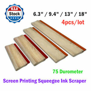 4pcs 6 3 9 4 13 18 Silk Screen Printing Squeegee Ink Scraper 75 Durometer