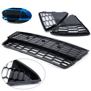 3pcs For 2012 2013 2014 Ford Focus Black Front Bumper Lower Grille Honeycomb