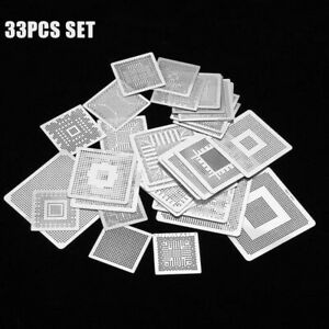 33pcs Bga Reballing Rework Stencils Steel Template Mesh Directly Head Set Kit