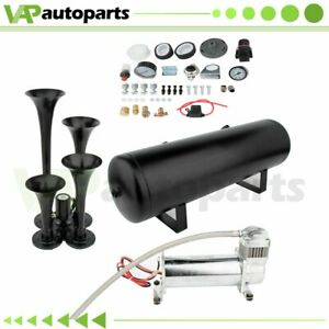 200psi 3gal 4 Trumpets Train Horn Kit For Truck Car System Air Tank Compressor