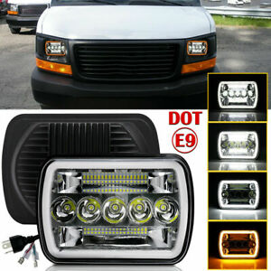 7x6 5x7 Led Headlight Hi Lo Halo Drl For Chevy Express Cargo Van 1500 2500 3500