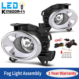 2pcs For 2013 2016 Nissan Pathfinder Clear Front Fog Lights W bulbs Bezel Wiring