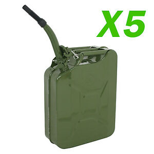 Jerry Can 20l Liter 5 Gallons Steel 5 Pcs Tank Fuel Gasoline Green With Spout