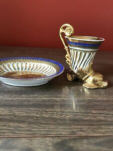 Antique French Empire Gilded Cup Saucer Figural Dolphin Fish Le Tallec Paris