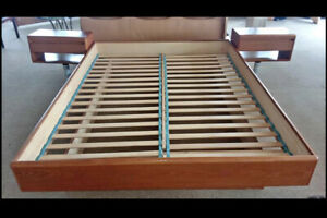 Mid Century Modern Queen Bed Frame 2 Floating Nightstands
