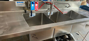 Kay Commercial nsf 79 1 2 L 3 Compartment Ss Sink W erator Rinse Sprayer