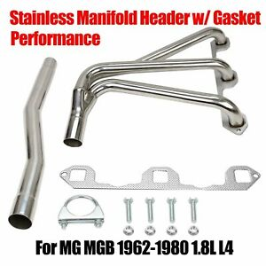 Fits Mg Mgb 1962 1980 1 8l L4 Stainless Performance Manifold Header W Gasket