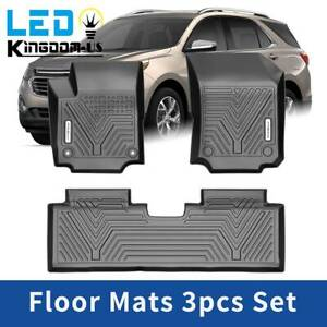 All Weather Floor Mats Liner For 2018 2019 2020 Chevrolet Equinox Black 3pcs Set