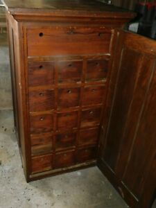 16 Drawer Country Store Oak Parts Cabinet Apothecary Paneled Sides