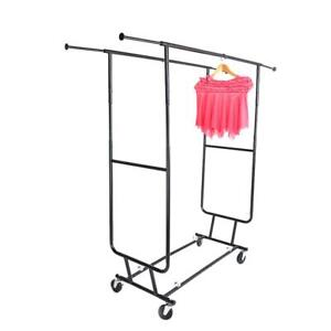 Commercial Clothing Garment Rolling Collapsible Double Steel Laundry Rack