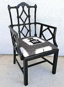 Asian Chippendale Style Black Ebonized Desk Dining Chair Armchair Chinoiserie