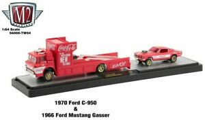 M2 Machines Coca Cola Auto Hauler - 1970 Ford C-950 & 1966 Ford Mustang Gasser